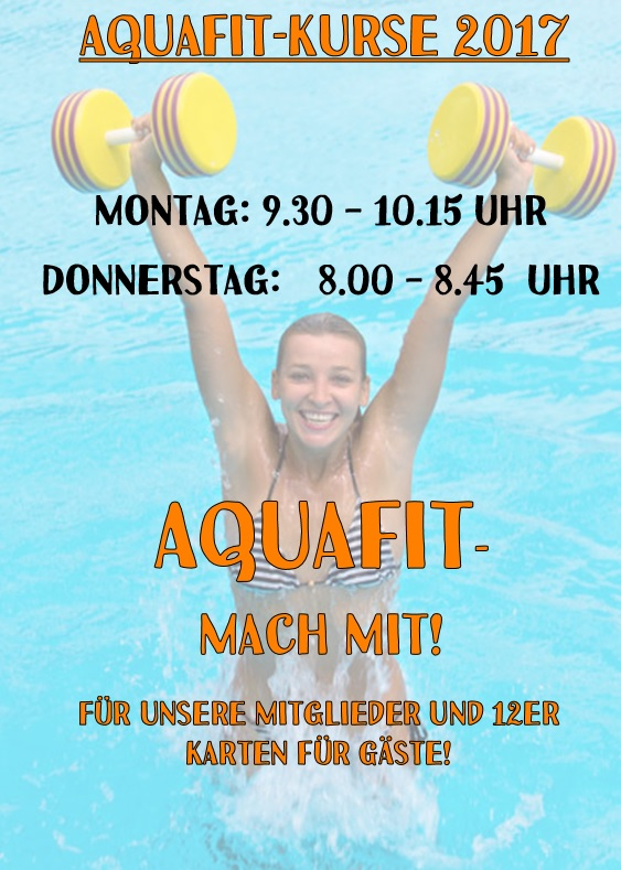 Aquafit-Kurse 2017 in Varel Montag, Dienstag, Donnerstag und Freitag